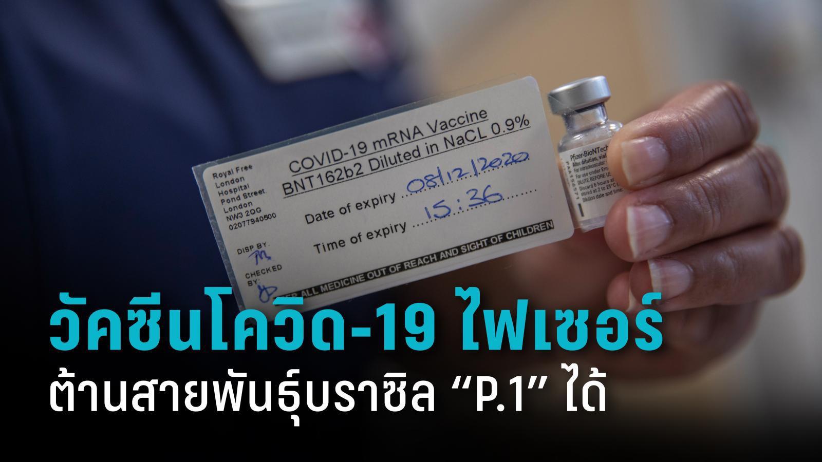 """วัคซีนโควิด-19 ไฟเซอร์ ต้านโควิด-19 สายพันธุ์บราซิล """"P.1"""" ได้ดี"""