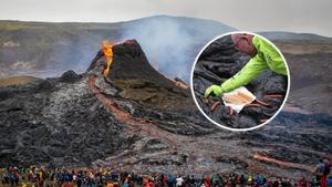"""ชาวไอซ์แลนด์ ย่างไส้กรอก บนภูเขาไฟ """"ฟากราดัลส์ฟยาล"""" หลังปะทุในรอบ 900 ปี"""