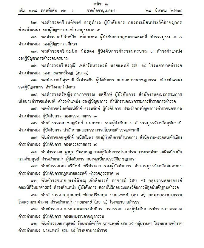 """โปรดเกล้าฯ """"บิ๊กโจ๊ก"""" สุรเชษฐ์ หักพาล ที่ปรึกษา(สบ9) ตั้งแต่ 27 มี.ค.และแต่งตั้ง 75 นายพล มีผล 1เม.ย.64"""