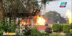 วินาที กระบะบรรทุกสเปรย์ฉีดยุง ชนราวสะพาน ระเบิดสนั่นไฟลุกท่วม