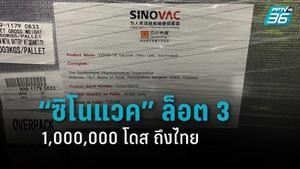 """วัคซีน """"ซิโนแวค"""" ล็อตสาม ถึงไทยแล้ว 1,000,000 โดส เร่งกระจาย"""