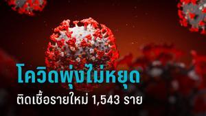 โควิด-19 พุ่งไม่หยุด พบ ป่วยรายใหม่ 1,543 ราย ติดเชื้อสูงสุดนับตั้งแต่ระบาดในไทย
