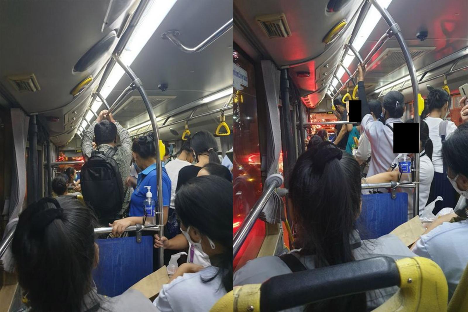 ฟ้องด้วยภาพ! คนแน่นรถเมล์ หลังปรับเที่ยวน้อยลง สวนนโยบายเว้นระยะห่าง