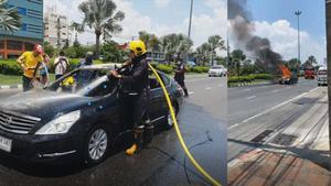 หนุ่มวัย 24 ปี หอบเงินล้านเตรียมเข้าธนาคาร แต่รถเกิดไฟไหม้วอด