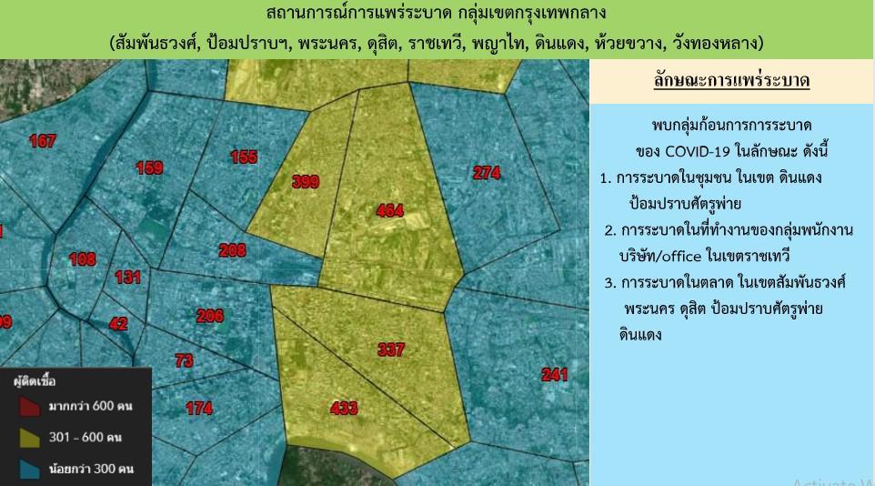กางแผนที่โควิดกทม.22,474 ติดเชื้อ 11 เขตหนัก คลองเตยพุ่งอีก เปิดคลัสเตอร์ออฟฟิศสาทร -ลาดพร้าว