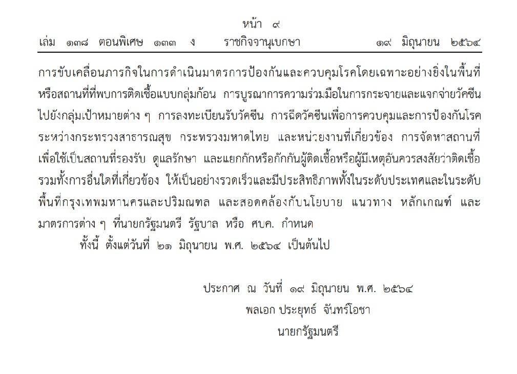 ข้อกำหนดตามพ.ร.ก.ฉุกเฉินฯ มาตรการคลายล็อก มีผลวันจันทร์ 21 มิ.ย.64