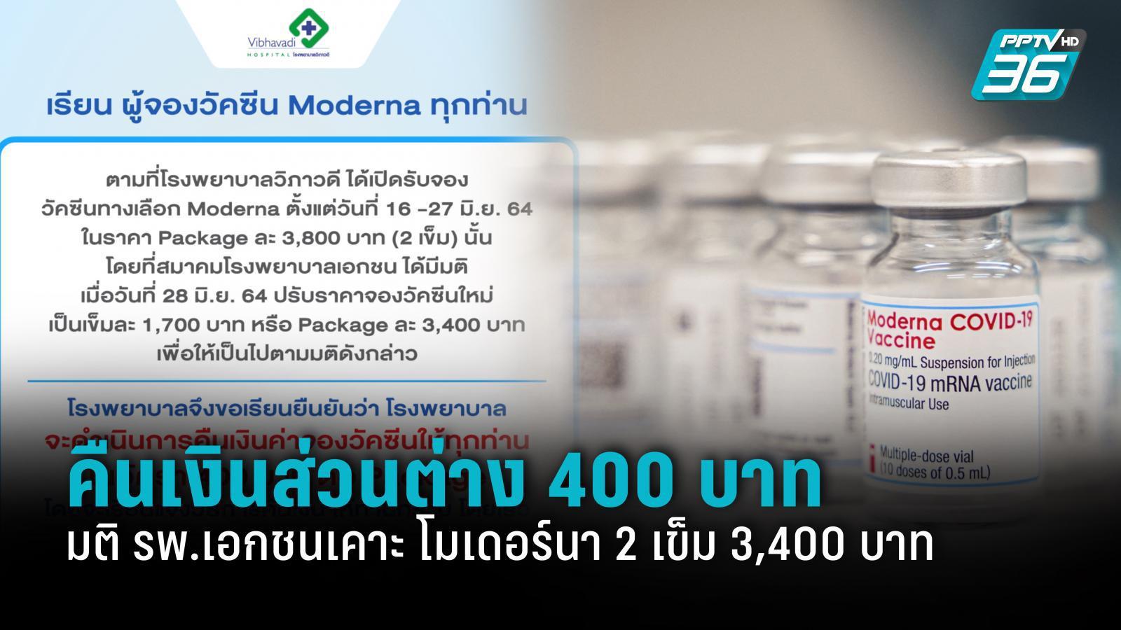 รพ.เอกชนประกาศคืนเงินส่วนต่าง 400 บาท หลังเคาะราคาวัคซีนโมเดอร์นา 2 เข็ม 3,400 บาท