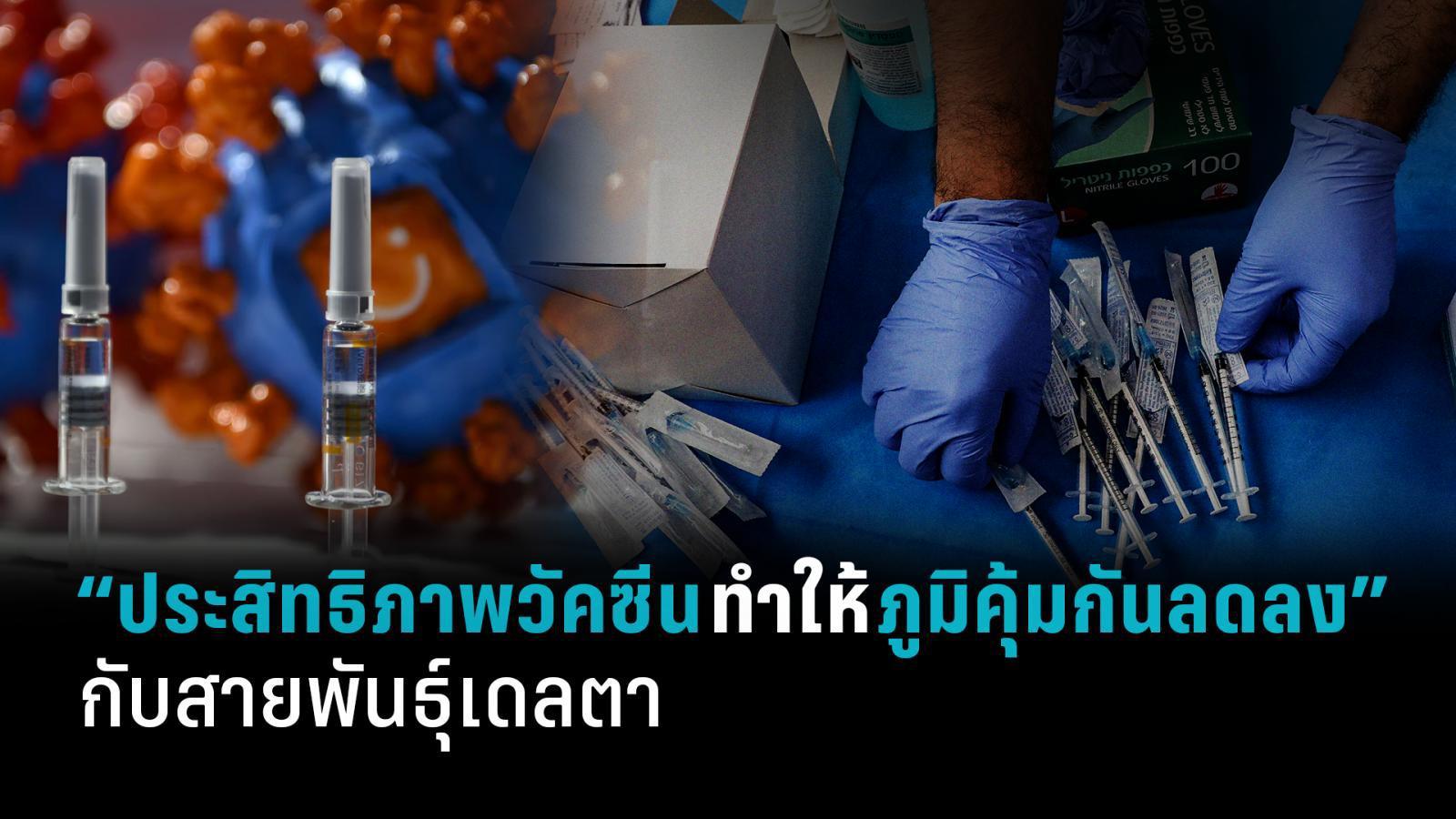 """""""ประสิทธิภาพวัคซีนทำให้ภูมิคุ้มกันลดลง"""" กับสายพันธุ์เดลตา"""