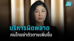 """""""ยิ่งลักษณ์"""" ซัด รัฐบาล บริหารผิดพลาด ทำคนไทยฆ่าตัวตายเพิ่ม"""