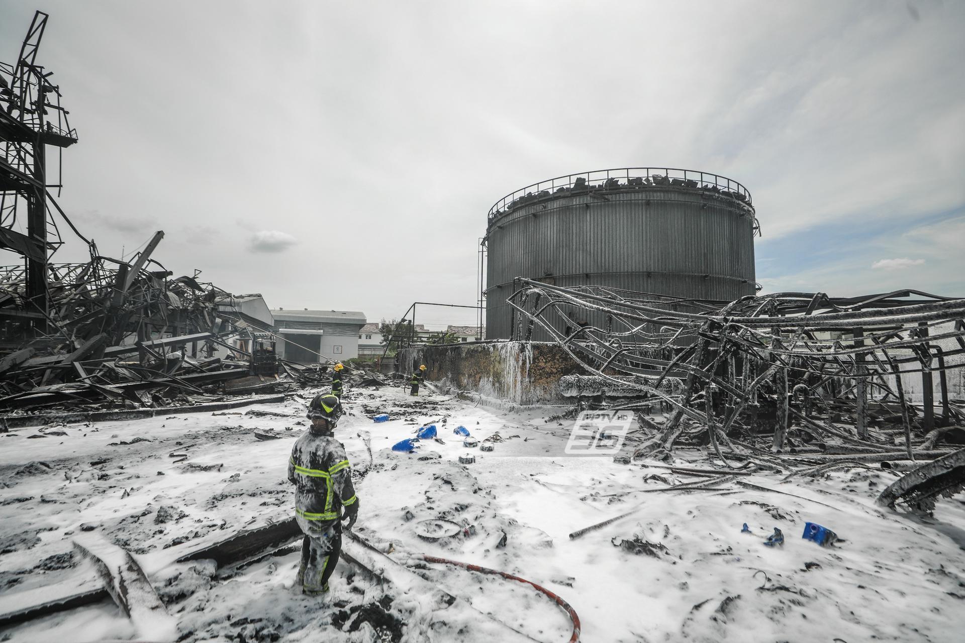 เฝ้าระวัง!! 'โรงงานหมิงตี้เคมีคอล' หลังเพลิงสงบ