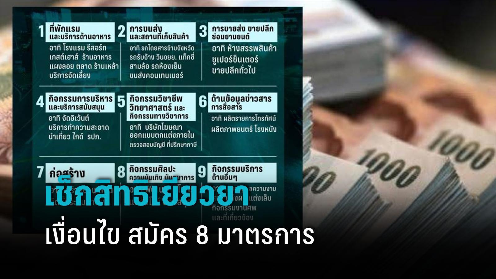 ตรวจสอบสิทธิเยียวยาล็อกดาวน์ ม.33 ม.39 - 40 รายละเอียด 9 กลุ่มกิจการ อาชีพได้สิทธิรับเงิน 8 มาตรการ