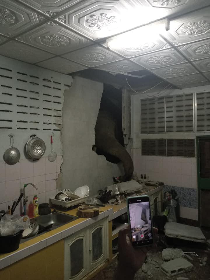 """มาอีกแล้ว """"พลายบุญช่วย"""" พังกำแพงบ้านที่เดิม หลังเจ้าของเพิ่งซ่อมไม่นาน"""