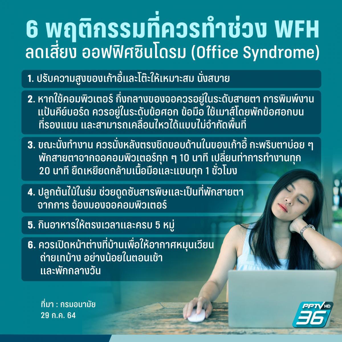 แนะ 6 วิธี ปรับเปลี่ยนพฤติกรรม Work from home ลดเสี่ยงเป็นออฟฟิศซินโดรม