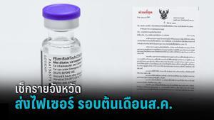 เปิดแผน เช็กรายจังหวัด ส่งวัคซีนไฟเซอร์ รอบต้นเดือนส.ค.