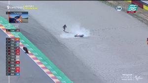 "Sam Lowes เข้าโค้ง 7 หน้าพับไปเฉยๆล้มไปอีกคน Moto 2  สนามที่ 13 ในรายการ ""Gran Premio TISSOT de Aragón"""