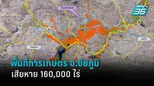 ภาพดาวเทียม ชี้พื้นที่เกษตรกรรม จ.ชัยภูมิ ได้รับผลกระทบจากน้ำท่วมกว่า 160,000 ไร่