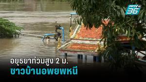 อยุธยาอ่วม! น้ำท่วมสูง 2 ม. ชาวบ้านเร่งอพยพหนีขึ้นชั้น 2 ศาลาวัด
