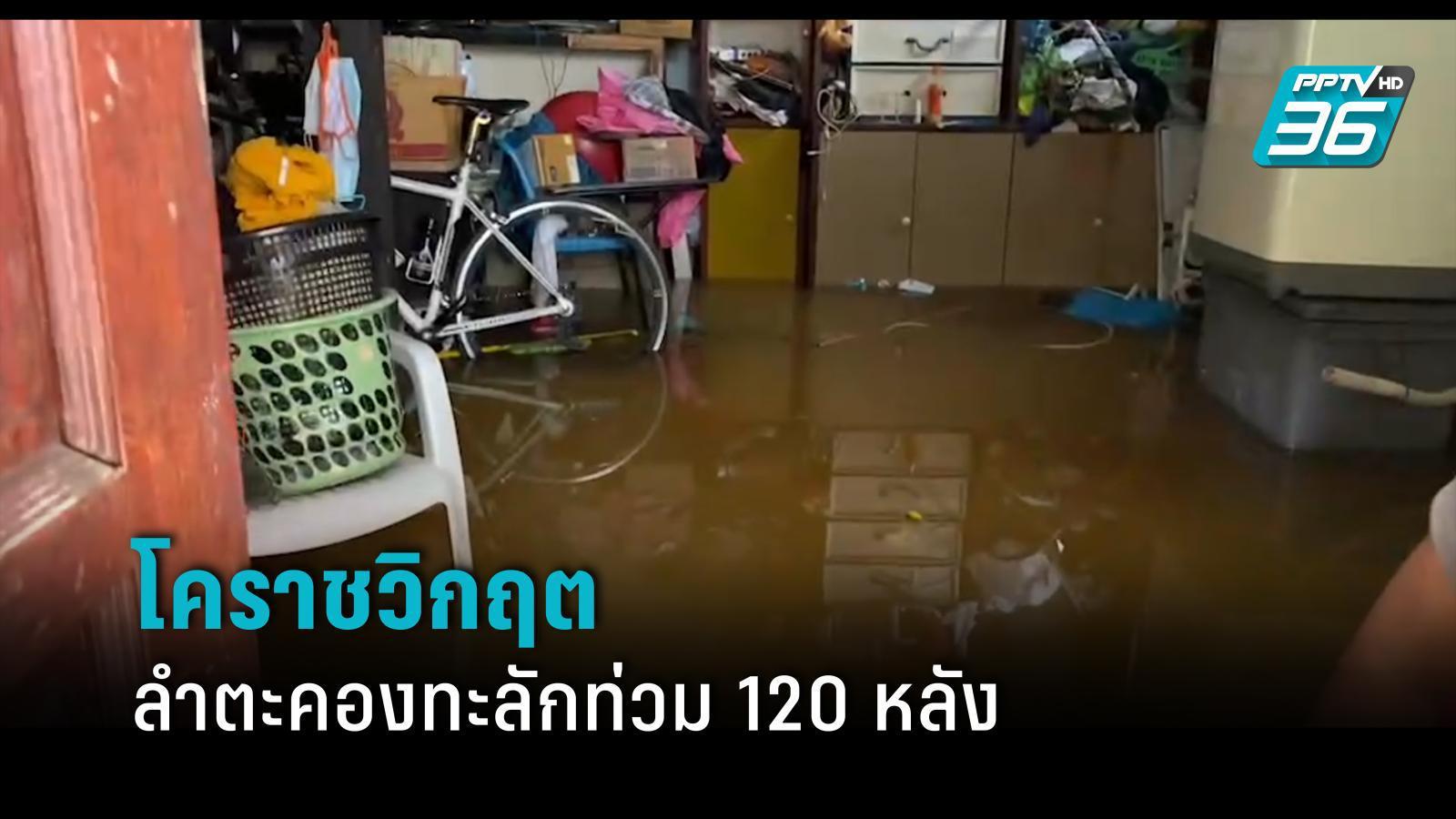 โคราชวิกฤต น้ำลำตะคองไหลทะลักท่วมบ้านเรือน  120 หลัง ปชช.อพยพอยู่วัด