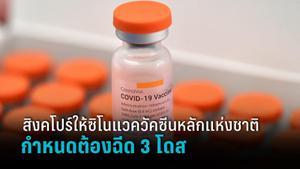 สิงคโปร์ อนุมัติซิโนแวคเป็นวัคซีนหลักสำหรับคนแพ้ mRNA แต่ต้องฉีด 3 โดส